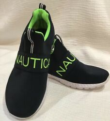 New Nautica Running No Laces Athletic Shoe Sz 2 Navy Blue/neon Green/white
