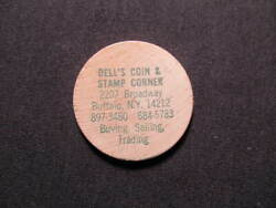 Buffalo New York Wooden Nickel Token - Delland039s Coin And Stamp Corner Wood Coin Grn