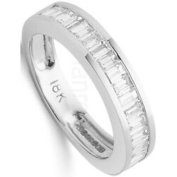Certificated 1.00ct Baguette Diamond Eternity Ring 18k White Gold Large Size R-z