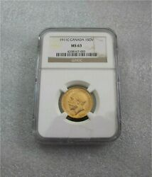 1911 C Canada Gold Coin Sovereign George V Ngc Ms 63