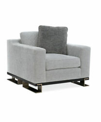 Modern Gray Diamond Upholstered Armchair With Whisper Of Gold Iron Legs