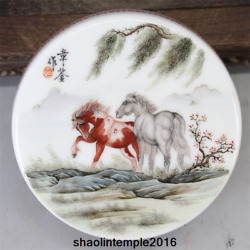 4.9 Old China Antique Hand Painted Pastel Two Horses Powder Box