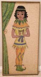 Vintage 1960's Gravel Art Large Picture Tropical Island Girl 37 X 19