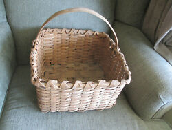 Vintage Antique Old Carry Basket Woven Split Oak Nice And Early Country