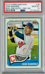 2014 Topps Heritage Jose Ramirez Real One Red Ink Autograph Psa 10 Rc D 08/10
