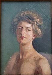 Original Nell Christmas Mcmillan Pease Oil Painting Nude Portrait Ca. 1920and039s