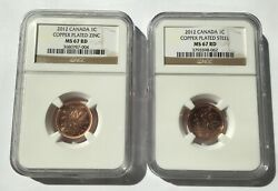 2012 Canada Ms67 Rd Copper-plated Steel And Zinc Set