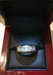 Gorgeous Mens 14k White And Yellow Gold With Five Graduating Diamonds