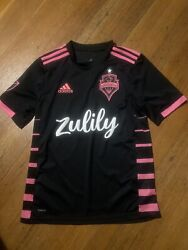 Adidas Seattle Sounders Mls Soccer Jersey Black/pink Youth Large 13-14y
