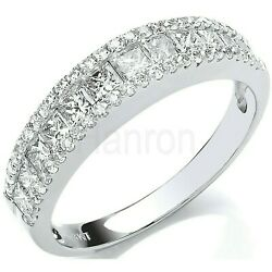 Certificated Diamond Eternity Ring 18k Princess Cut Centre Band Large Size R - Z