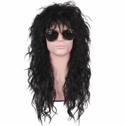ColorGround Long Curly 80s Men Fashion Smart Rocker Style Wig Black Cosplay
