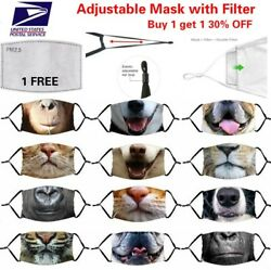 Funny 3D Animal Adjustable Cotton Face Mask Cover Washable Reusable with Filter