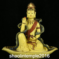 China Qing Dynasty Yellow Glaze Pastel Tracing Gold Sitting Leaf Guanyin Statue