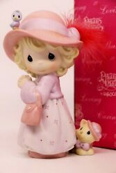 Precious Moments Sisters In Purple 119435 - Pretty With Bonnet, Feathers, Cat