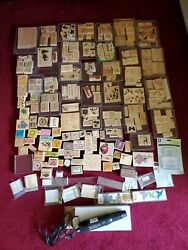 Vintage Huge 230 + Piece Lot Wood Mount Rubber Stamps Stampin Up Craft And More