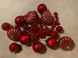 27 Christmas Ornaments Shatterproof Red Gold Large