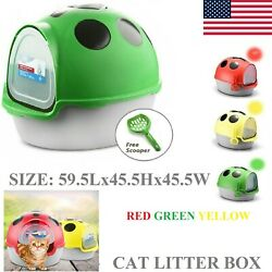Cat Toilet Litter Box Kitty Tray Extra Large Self Cleaning With Hand Scoop US