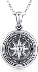 925 Sterling Silver Compass Locket Pendant Necklace For Women Men 20-inch Chain
