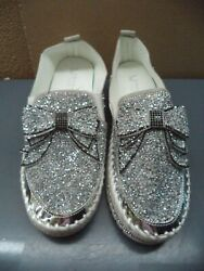 Muguan Silver Sequins W/ White Soles Slip On Womanandrsquos Sneakers Size 6.5 Or 10 Nip