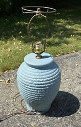 Art Pottery Blue Table Lamp From Silver Dollar City