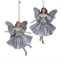 Set Of 2 Sage Green And Silver Angel Ornaments E0357 W