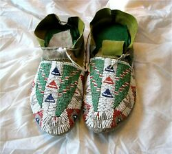 1900and039s Plateau Sahaptin Indian Native American Beaded Moccasins Beads Antique