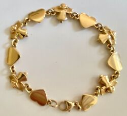 ❤️james Avery Bracelet Angel And Heart - Gold - 7½ Retired Vintage Link X-rare❤️