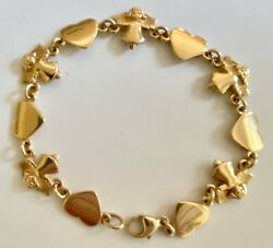 ❤️james Avery Bracelet Angel And Heart - Gold - 7andfrac12 Retired Vintage Link X-rare❤️