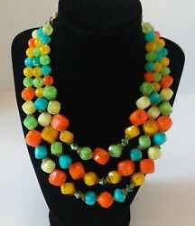 Vintage Lisner Necklace Lucite Signed Chunky Beaded With Aurora Borealis S