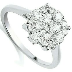 Certificated Diamond Engagement Ring Cluster 18k White Gold 0.75ct Size J - Q