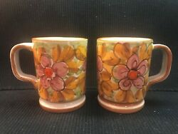 Set Of 2 Vintage Italian Majolica Pottery Hand Painted/dated Mugs Cups Italy