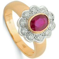 Ruby And Diamond Cluster Ring 18k Yellow Gold 1.30ctw Certificate Large Size R-z