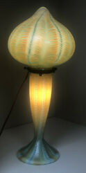 1984 Lundberg Studios Blue Green Murano Shade And Base Lighted Table Lamp Signed