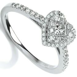 Certificated Diamond Heart Engagement Ring 18k White Gold 0.50ct Size J-q