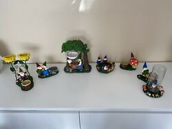 New Rare Lot Retired Yankee Candle Gnomes 7 Pieces