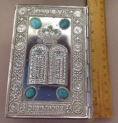 Vintage Silver Tin Color With Blue Turquoise Stone Jewish Siddur Prayer Book
