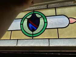 Vintage Candle Coat Of Arms Stain Glass Window