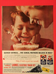 1961 Vtg. Quaker Mothers Oats Ad With Lionel Electric Train Set Special Offer