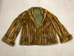 Womens Vintage Mink Fur Coat With 2 Full Body Mink Pelts For Shawl Size Small
