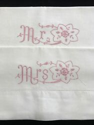 Pair Mr And Mrs Hand Embroidered Pink Floral Standard Vintage Pillowcases Rf688