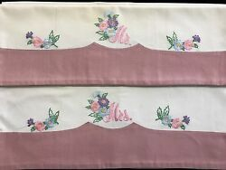 Pair Mr And Mrs Hand-embroidered Floral Standard Vintage Pillowcases Rf688