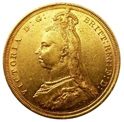 1887-s Queen Victoria Jubilee Head Gold Sovereign Hooked And039jand039 In J.e.bdish.s1-s