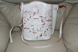 Patricia Nash Tooled Collection White with Pink Cutouts Bucket Crossbody Bag $75.00