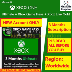New Acc Only Xbox Game Pass Ultimate 3 Months Membership Live Gold+gamepass
