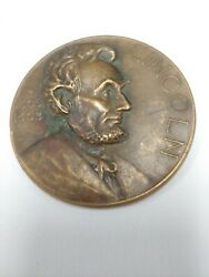 1922 Bronze Abraham Lincoln Watch Company Essay Award 75 Mm Medal