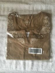Denim And Co Short Sleeve Duet W/ Embroidery Mocha Size M A232618