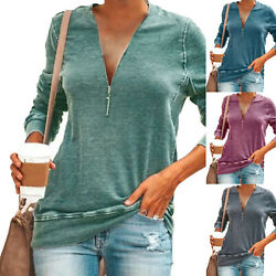 Womens Long Sleeve V Neck T Shirt Casual Zip Loose Baggy Tunic Tee Tops Blouses $13.48