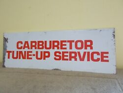 Vintage Carburetor Tune-up Service Sign Double Sided Gas Oil Station Advertizing