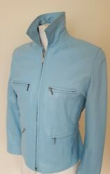 Leather- Best Connections Blue Dream Leather Jacket Size 38 Us Size 8