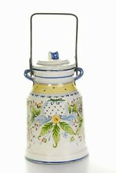 Vintage Gumps Hand Painted Made In Italy Large Jar With Metal Handle, Lid 14h